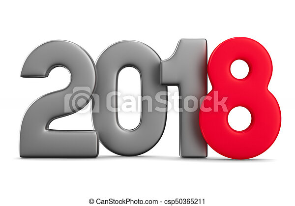 2018 new year. Isolated 3D illustration - csp50365211