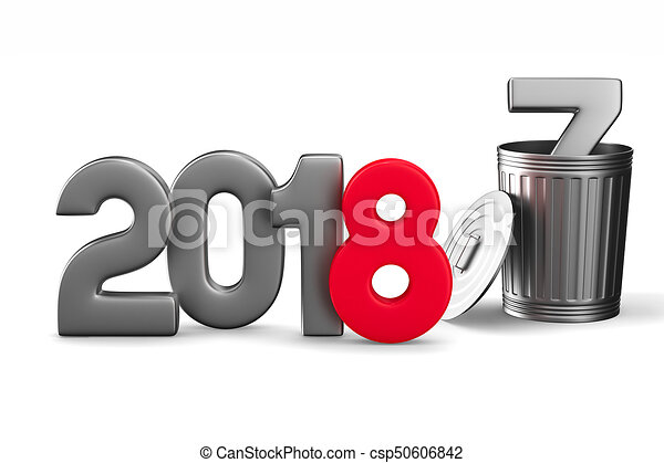 2018 new year. Isolated 3D illustration - csp50606842