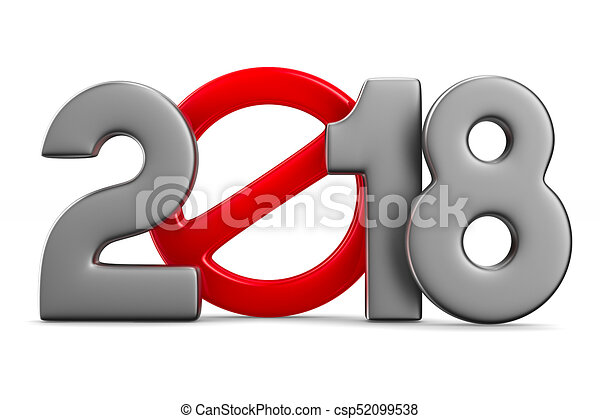2018 new year. Isolated 3D illustration - csp52099538
