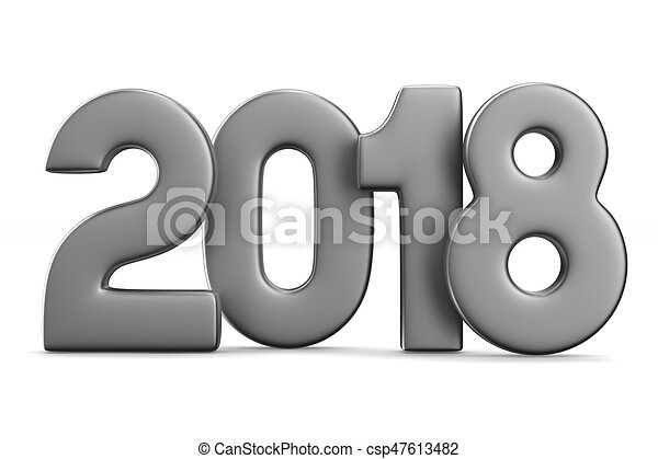 2018 new year. Isolated 3D illustration - csp47613482