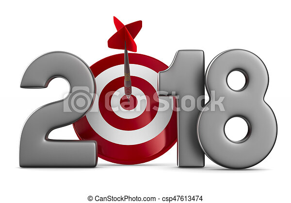 2018 new year. Isolated 3D illustration - csp47613474