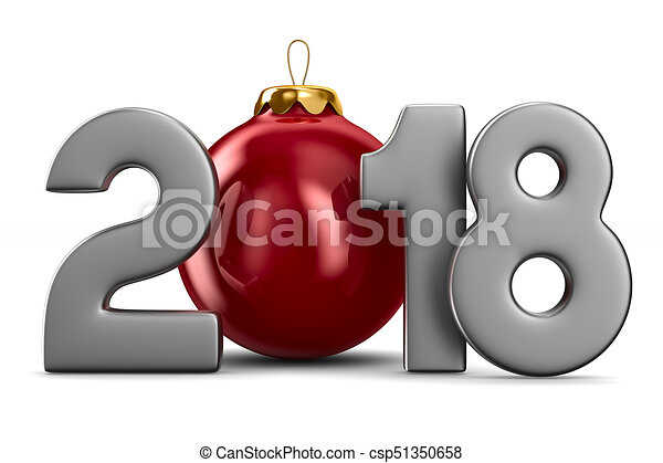 2018 new year. Isolated 3D illustration - csp51350658