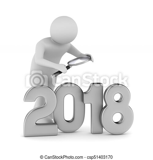 2018 new year. Isolated 3D illustration - csp51403170
