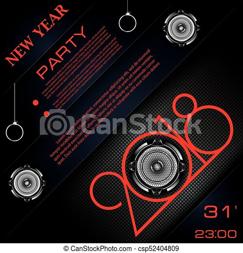 2018 new year party invitation with audio speakers on abstract black background vector template