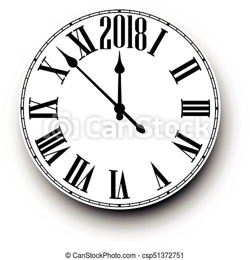 2018 New Year round clock. - csp51372751