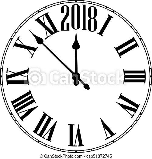 2018 new year round clock. 2018 new year black clock on white ...