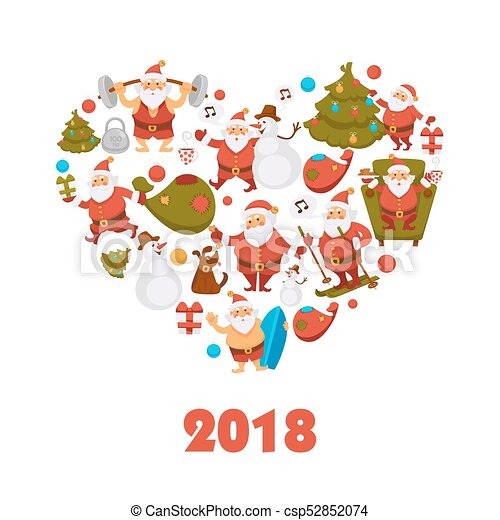 2018 new year santa cartoon character celebrating christmas winter holiday vector greeting card