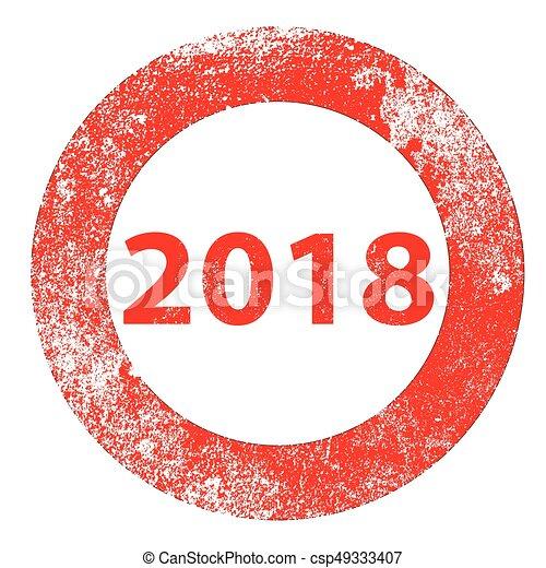 2018 Rubber Stamp - csp49333407