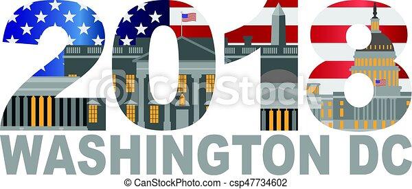 2018 Washington DC USA Flag Outline Illustration - csp47734602