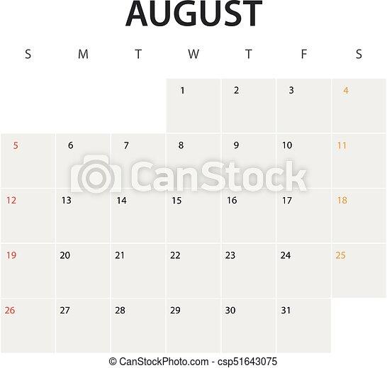 2018 year calendar template. August - csp51643075