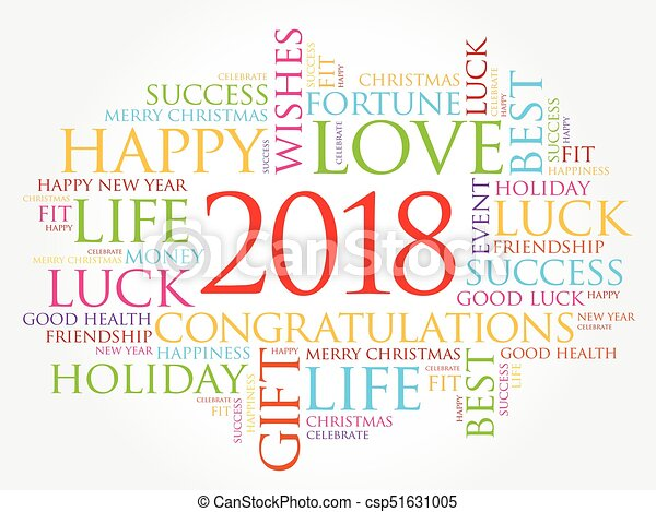 2018 year greeting word cloud csp51631005