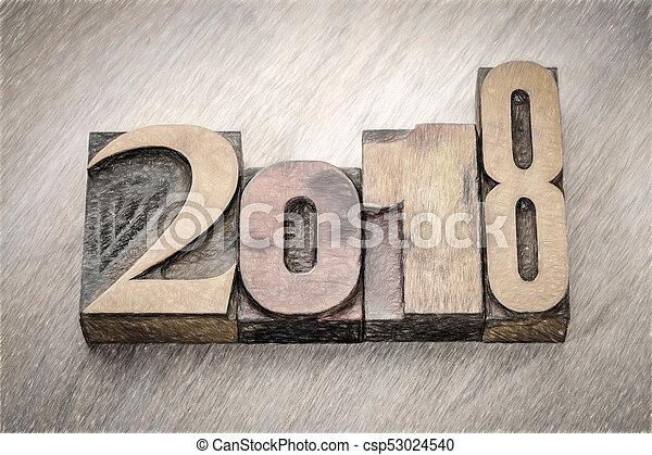 2018 year in letterpress wood type - csp53024540