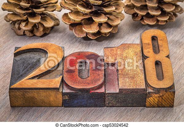 2018 year in letterpress wood type - csp53024542