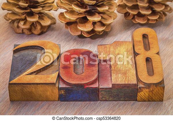 2018 year in letterpress wood type - csp53364820