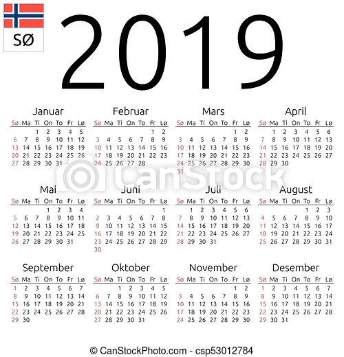 2019, カレンダー, 日曜日, ノル...