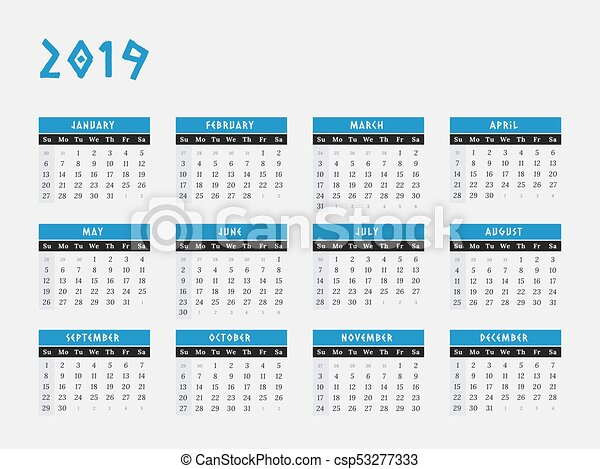 2019 Calendario Desenho Horizontais Ano Azul Ilustracao