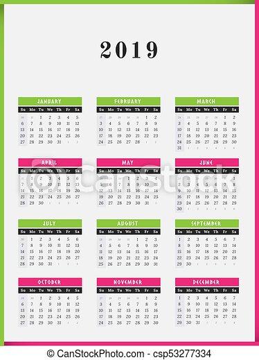 2019, calendário, desenho, vertical, ano. Cor, quadro ...