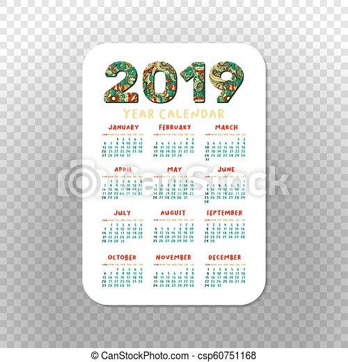2019 Calendar Template For Pocket Calendar Basic Grid 2019 Pocket
