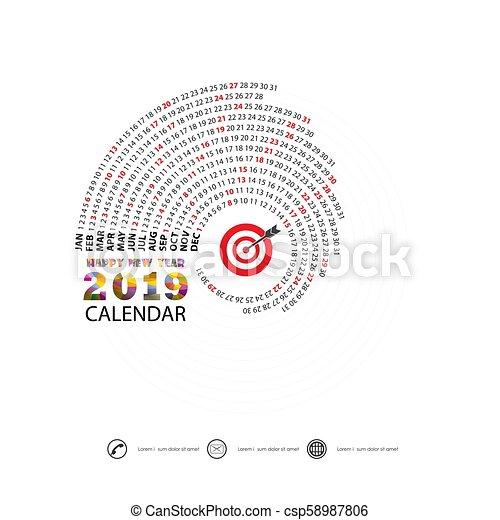 2019 Calendar Template Spiral Calendar Calendar 2019 Set Of 12