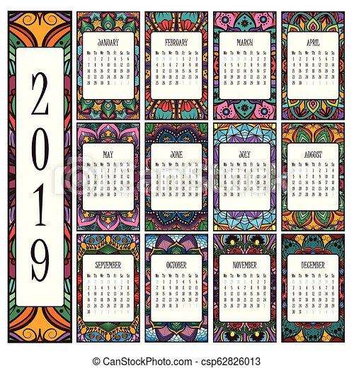 2019 calendar with beautiful intricate mandalas - csp62826013