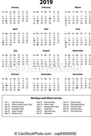 2019 Calendar One Page.2019 Calendar Year On One Page B W