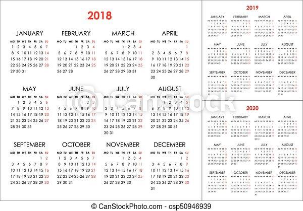 Calendario Por Semanas 2020.2019 Calendario 2020 2018 Anos