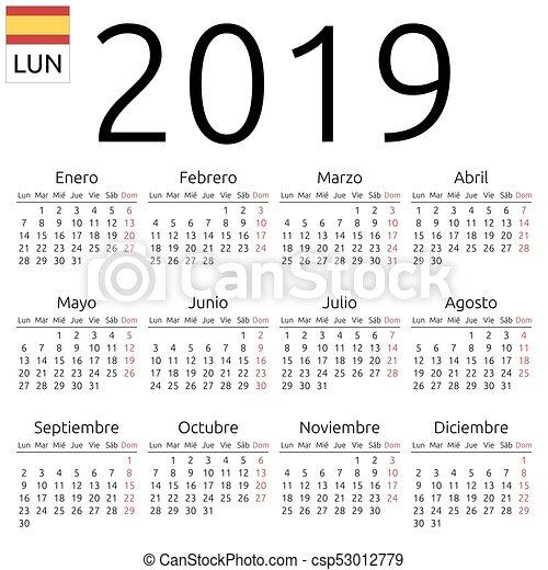 Calendario In Spagnolo.2019 Calendario Spagnolo Lunedi