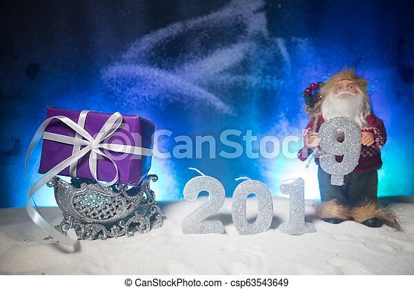 2019 digits on the snow. Happy new 2019-year concept. Empty space for your text. - csp63543649