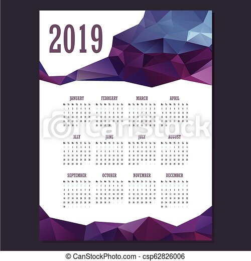 2019 Geometric calendar with purple colors - csp62826006