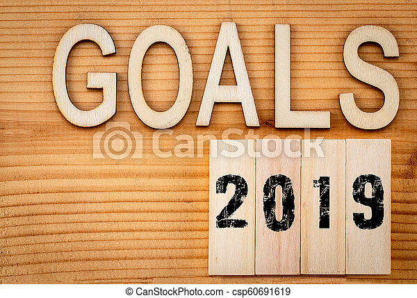 2019 goals banner - New Year resolution concept - text in vintage letters on wooden blocks - csp60691619