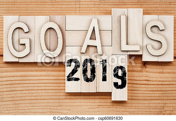 2019 goals banner - New Year resolution concept - text in vintage letters on wooden blocks - csp60691630