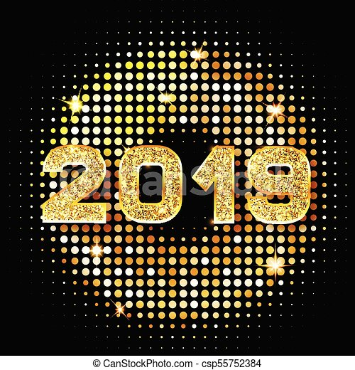2019 golden new year sign with golden glitter on black background vector happy new year 2019 gold