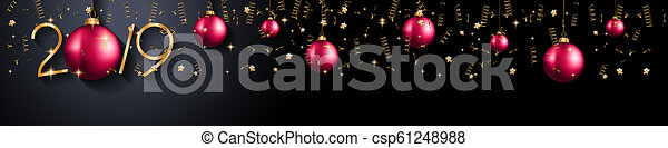 2019 Happy New Year Background for your Seasonal Flyers and Greetings Card or Christmas - csp61248988