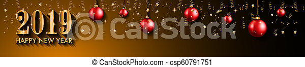 2019 Happy New Year Background for your Seasonal Flyers and Greetings Card or Christmas - csp60791751