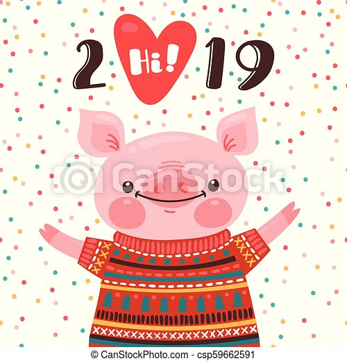 2019 happy new year card design symbol drawing_csp59662591jpg
