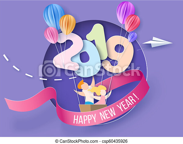 2019 happy new year design card with kids csp60435926