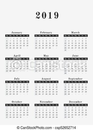 2019 kalender design senkrecht jahr abbildung. Black Bedroom Furniture Sets. Home Design Ideas