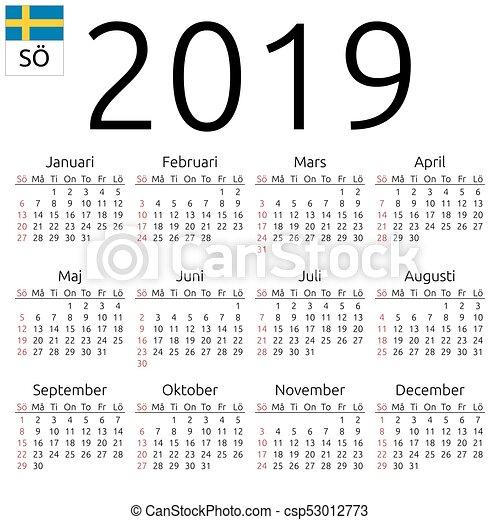 2019 Kalender S%C3%B6ndag Svensk 53012773 on Number Line Clip Art