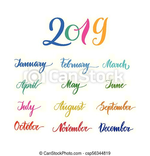 Calendario 2019 Illustrator.2019 Multicolored Names Months Calendar Lettering