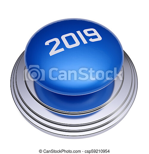 2019 New Year blue button isolated - csp59210954
