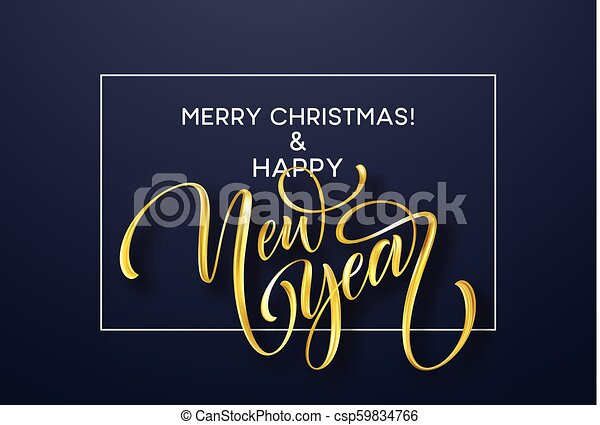 2019 new year golden hand written lettering with on a black background vector illustration