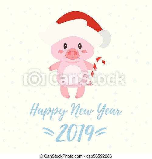 Vector cartoon style illustration of happy 2019 new year greeting vector cartoon style illustration of happy 2019 new year greeting card with cute pink pig wearing santa claus hat and holding candy cane isolated on white m4hsunfo