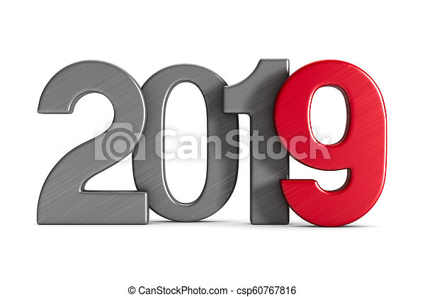 2019 new year. Isolated 3D illustration - csp60767816
