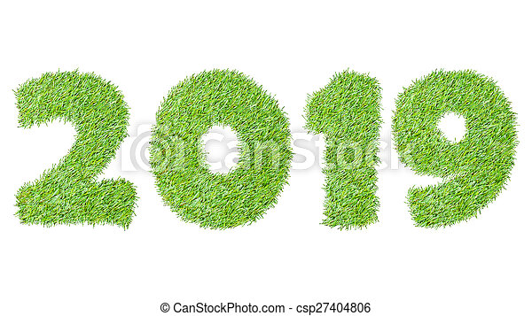 2019, New year made from the green grass, isolated on white can use as abstract background - csp27404806