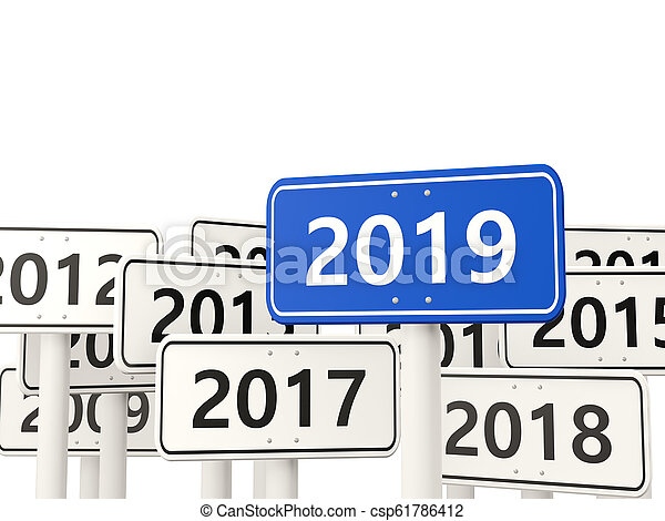 2019 New year symbol on a road sign - csp61786412