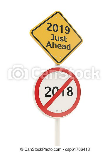 2019 New year symbol on a road sign - csp61786413