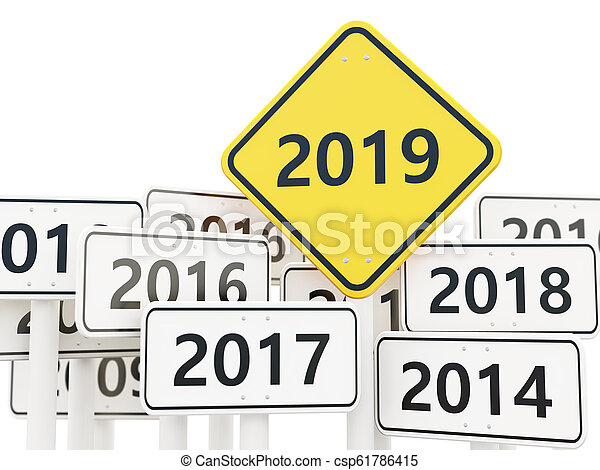 2019 New year symbol on a road sign - csp61786415