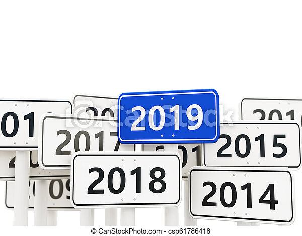 2019 New year symbol on a road sign - csp61786418