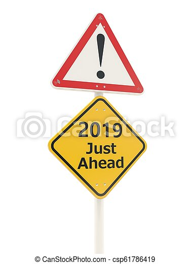 2019 New year symbol on a road sign - csp61786419