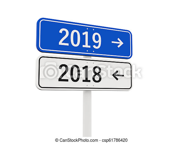 2019 New year symbol on a road sign - csp61786420